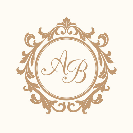 Elegant floral monogram design template for one or two letters . Wedding monogram. Calligraphic elegant ornament. Business sign, monogram identity for restaurant, boutique, hotel, heraldic, jewelry. Vettoriali