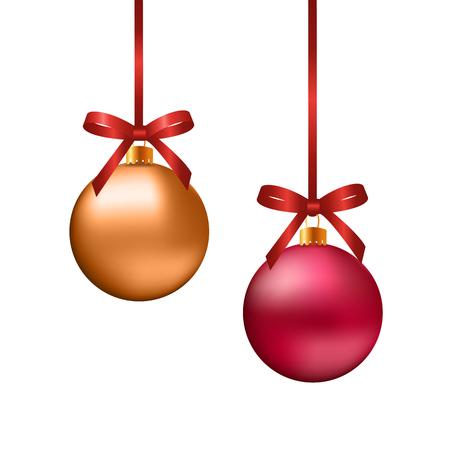 moños de navidad: Bolas rojas y de oro de la Navidad con los arcos en el fondo blanco,