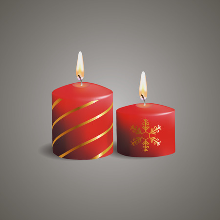 waxen: Red Christmas candles with snowflakes