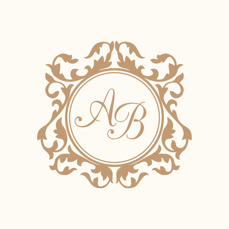 Elegant floral monogram design template for one or two letters . Wedding monogram. Calligraphic elegant ornament. Business sign, monogram identity for restaurant, boutique, hotel, heraldic, jewelry. Illusztráció