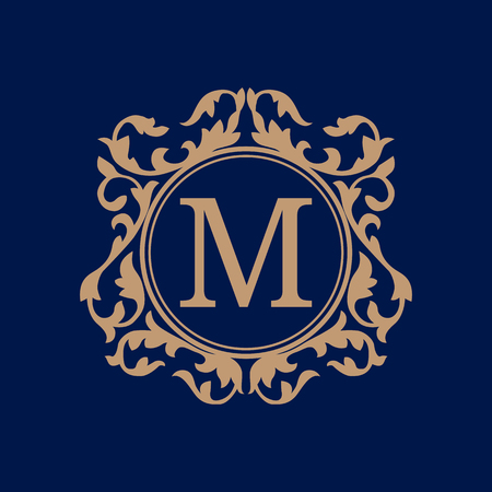 be the identity: Elegant monogram design template. Calligraphic floral ornament. Can be used for label and invitation design .Business sign, monogram identity for restaurant, boutique, cafe, hotel, heraldic, jewelry.
