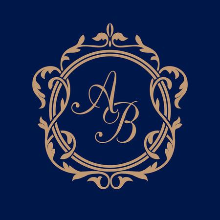 Elegant floral monogram design template for one or two letters . Wedding monogram. Calligraphic elegant ornament. Business sign, monogram identity for restaurant, boutique, hotel, heraldic, jewelry. Stock Illustratie