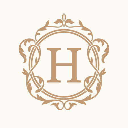 Elegant monogram design template. Wedding monogram. Calligraphic floral ornament. Can be used for label and invitation design .Business sign, monogram identity for restaurant, hotel, heraldic, jewelry