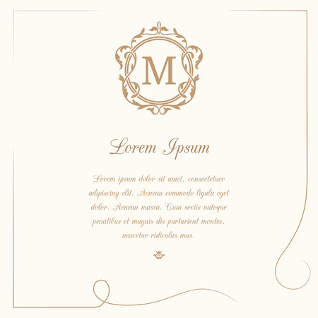 wedding frame: Vintage template with monogram and calligraphic frame. Wedding invitation. Can be used for greeting cards, invitations, menus, labels.