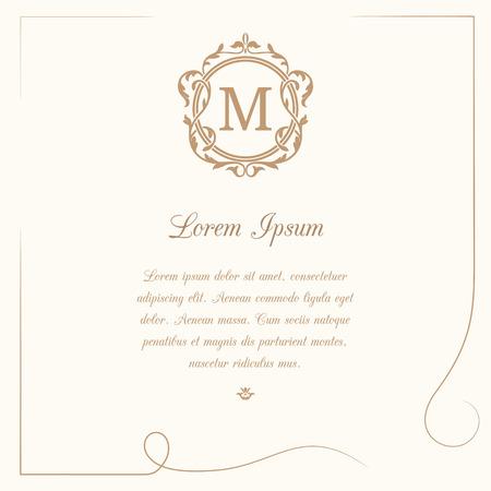 Vintage Vorlage mit Monogramm und kalligraphi. Hochzeitseinladung. Kann für Grußkarten, Einladungen, Speisekarten, Etiketten verwendet werden. Standard-Bild - 48731759