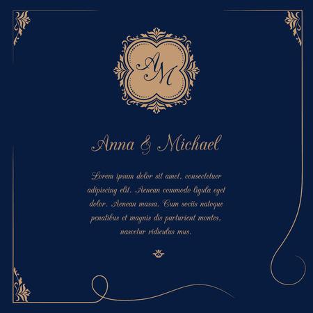 outline wedding: Invitation card with monogram on dark blue background. Wedding invitation, Save The Date. Vintage invitation template. Vector illustration