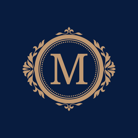 jewellery: Elegant floral monogram design template for one or two letters . Wedding monogram. Calligraphic elegant ornament. Business sign, monogram identity for restaurant, boutique, hotel, heraldic, jewelry. Illustration