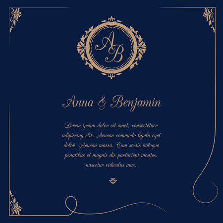 Invitation card with monogram on dark blue background. Wedding invitation, Save The Date. Vintage invitation template. Vector illustration