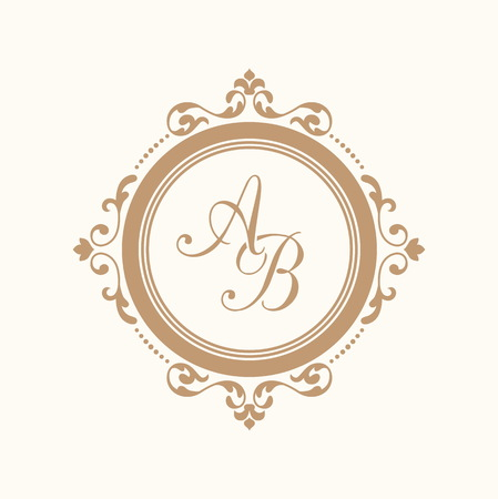 boutique hotel: Elegant floral monogram design template for one or two letters . Wedding monogram. Calligraphic elegant ornament. Business sign, monogram identity for restaurant, boutique, hotel, heraldic, jewelry. Vectores