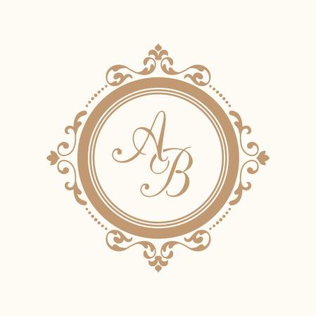 refine: Elegant floral monogram design template for one or two letters . Wedding monogram. Calligraphic elegant ornament. Business sign, monogram identity for restaurant, boutique, hotel, heraldic, jewelry. Illustration