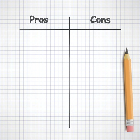 cons: Hand drawn pros and cons on copybook sheet Illustration
