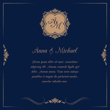Tarjeta de invitación con monograma en fondo azul oscuro. invitación de la boda, ahorra la fecha. Modelo de la invitación de la vendimia.