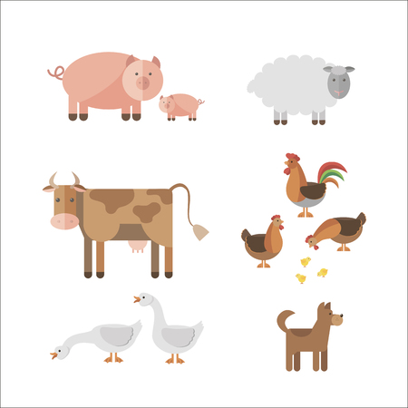 Tiere auf dem Bauernhof in flachen Stil. Vektorgrafik