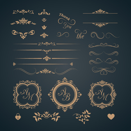 Vintage set of decorative elements. Wedding monograms. Calligraphic elegant ornaments. Vettoriali