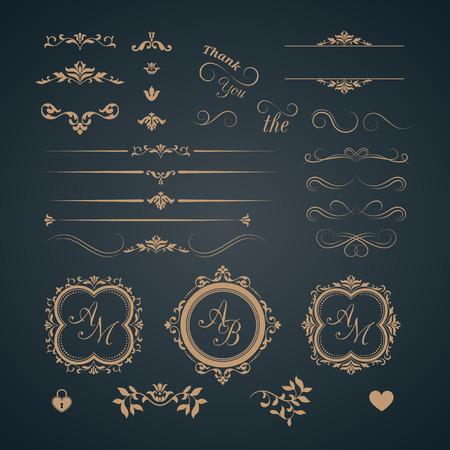 Vintage zestaw elementów dekoracyjnych. monogramy ślubne. Kaligraficzne eleganckie ozdoby.