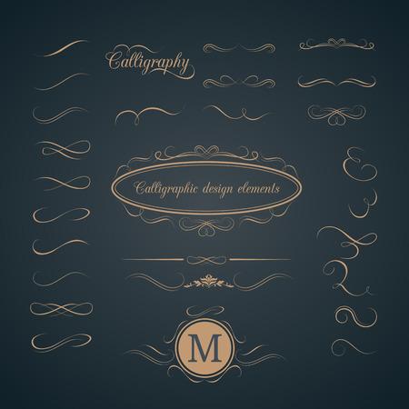 Vintage set of calligraphic design elements. Decorative elements, monogram, frame. Can be used for wedding invitation design Illustration