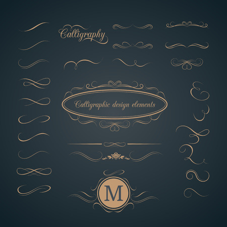 with sets of elements: Vintage set of calligraphic design elements. Decorative elements, monogram, frame. Can be used for wedding invitation design Illustration