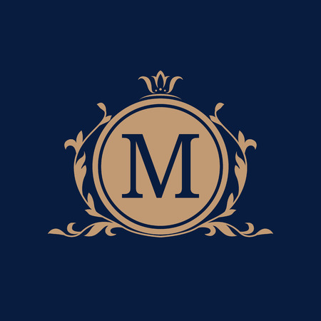 blue border: Elegant floral monogram design template for one or two letters . Wedding monogram. Calligraphic elegant ornament. Business sign, monogram identity for restaurant, boutique, hotel, heraldic, jewelry. Illustration