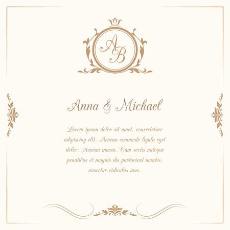 Invitation card with monogram. Wedding invitation, Save The Date. Vintage invitation template. Vector illustration