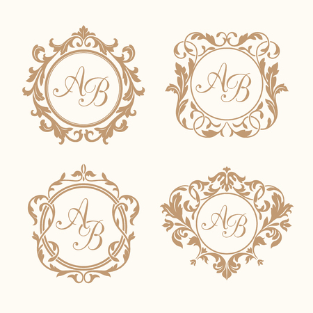 antique frame: Set of elegant floral monogram design templates for one or two letters . Wedding monogram. Calligraphic elegant ornament. Monogram identity for restaurant, hotel, heraldic, jewelry.