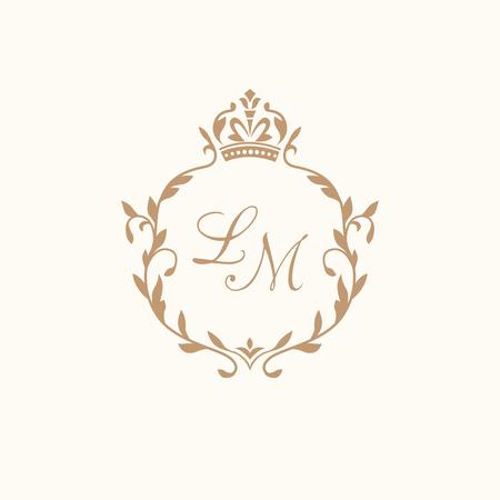 Modèle florale élégante de monogramme de conception pour une ou deux lettres. Monogramme de mariage. Élégante parure calligraphique. Signe d'affaires, l'identité de monogramme pour le restaurant, boutique, hôtel, héraldique, bijoux.
