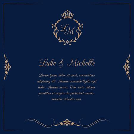 Tarjeta de invitación con monograma en fondo azul oscuro. invitación de la boda, ahorra la fecha. Modelo de la invitación de la vendimia. ilustración vectorial
