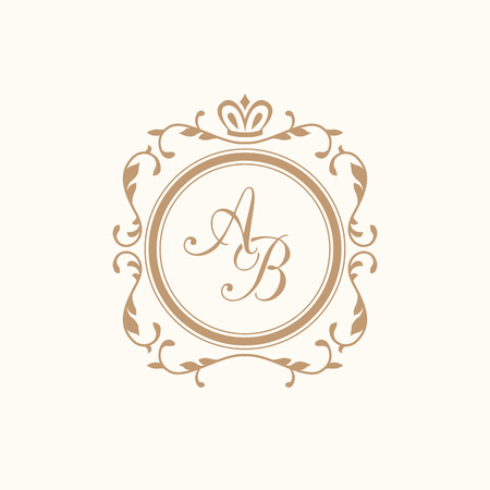 Elegant floral monogram design template for one or two letters . Wedding monogram. Calligraphic elegant ornament. Business sign, monogram identity for restaurant, boutique, hotel, heraldic, jewelry. 일러스트