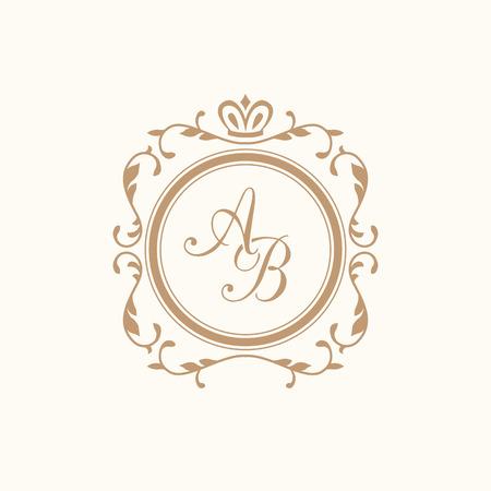 Elegant floral monogram design template for one or two letters . Wedding monogram. Calligraphic elegant ornament. Business sign, monogram identity for restaurant, boutique, hotel, heraldic, jewelry.  イラスト・ベクター素材