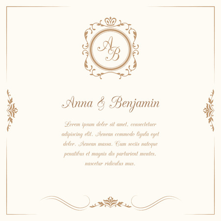 Tarjeta de invitación con monograma. Invitación de boda, guardar la fecha. Plantilla de invitación vintage Ilustración vectorial