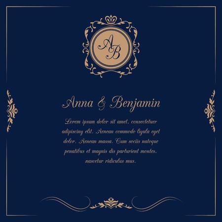 결혼식: 어두운 파란색 배경에 모노그램 초대 카드. 결혼식 초대장, 날짜를 저장합니다. 빈티지 초대장 템플릿입니다. 벡터 일러스트 레이 션