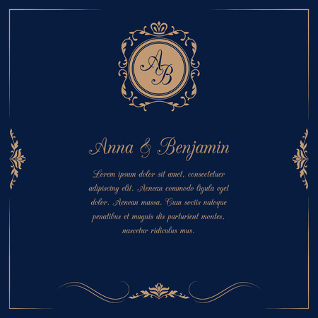 Invitation card with monogram on dark blue background. Wedding invitation, Save The Date. Vintage invitation template. Vector illustration