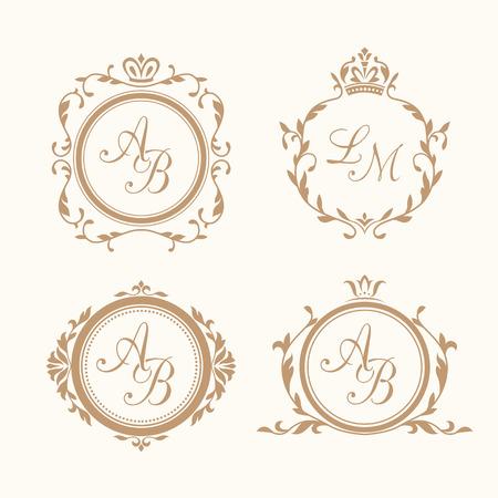 Conjunto de plantillas de diseño monograma elegantes florales para una o dos letras. Monograma de la boda. Ornamento elegante caligráfico. La identidad del monograma para restaurante, hotel, heráldico, joyería.