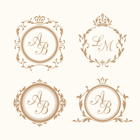 Ensemble de florales élégantes modèles de conception de monogramme pour une ou deux lettres. Monogramme de mariage. Élégante parure calligraphique. Identité de monogramme pour le restaurant, hôtel, héraldique, bijoux.