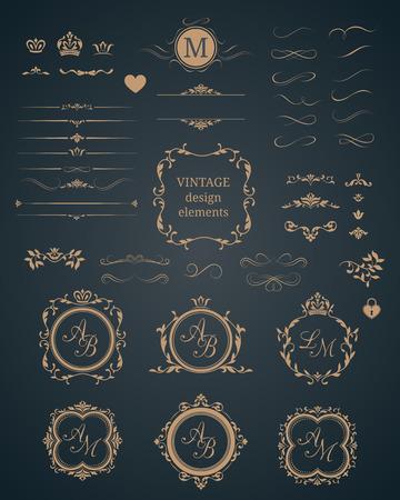 Vintage set of decorative elements. Wedding monograms. Calligraphic elegant ornaments. Stock Illustratie