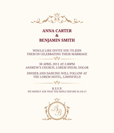 Invitation Card With Monogram Wedding Invitation Save The Date