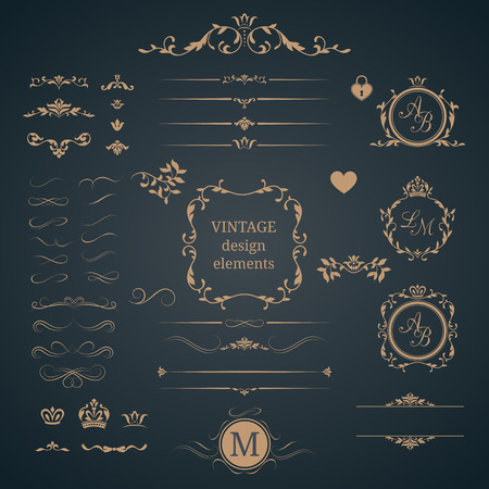 Vintage set of decorative elements. Wedding monograms. Calligraphic elegant ornaments. 일러스트