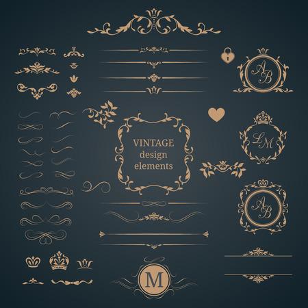 Vintage set di elementi decorativi. monogrammi di nozze. ornamenti eleganti calligrafici. Vettoriali