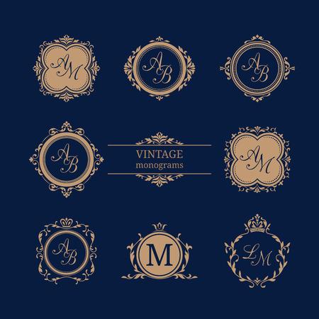 refine: Set of elegant floral monogram design templates. Wedding monogram. Calligraphic elegant ornament. Monogram identity for restaurant, hotel, heraldic, jewelry.