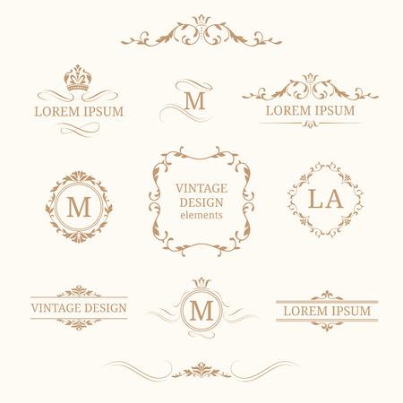 Elegante monogrammi floreali e bordi. modelli di progettazione per gli inviti, i menu, le etichette. monogrammi di nozze. Calligrafica ornamento elegante. identità Monogram per ristorante, hotel, araldico, gioielli.