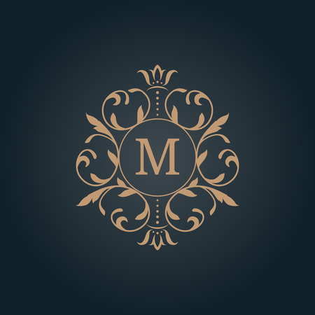 gold ornaments: Elegant floral monogram design template for one or two letters . Wedding monogram. Calligraphic elegant ornament. Business sign, monogram identity for restaurant, boutique, hotel, heraldic, jewelry. Illustration