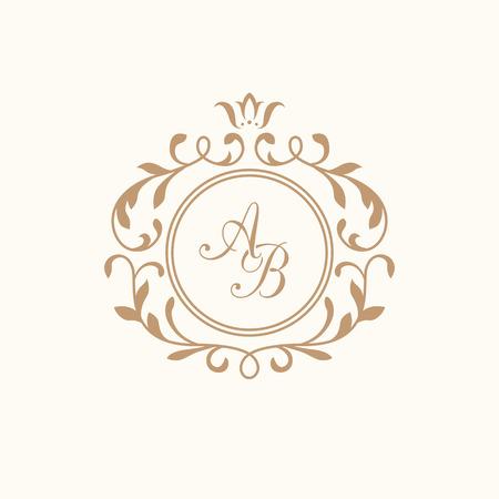 하나 또는 두 개의 문자에 대한 우아한 꽃 모노그램 디자인 템플릿입니다. 웨딩 모노그램. 붓글씨 우아한 장식입니다. 비즈니스 기호, 레스토랑, 부티