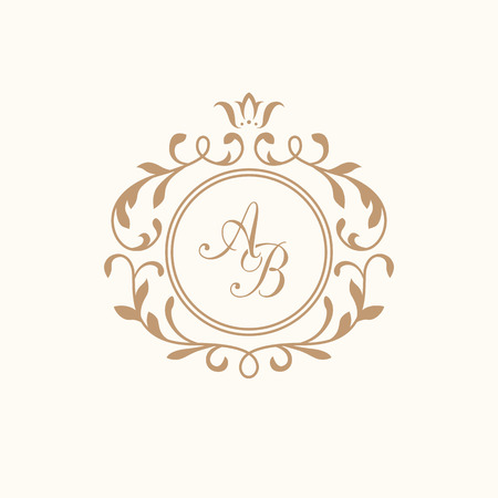 Elegant floral monogram design template for one or two letters . Wedding monogram. Calligraphic elegant ornament. Business sign, monogram identity for restaurant, boutique, hotel, heraldic, jewelry. Ilustração