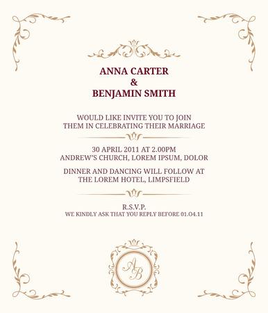 gold floral: Invitation card with monogram. Wedding invitation, Save The Date. Vintage invitation template. illustration