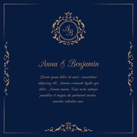 Tarjeta de invitación con monograma en fondo azul oscuro. invitación de la boda, ahorra la fecha. Modelo de la invitación de la vendimia. ilustración Ilustración de vector