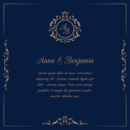 Invitation card with monogram on dark blue background. Wedding invitation, Save The Date. Vintage invitation template. illustration Vectores