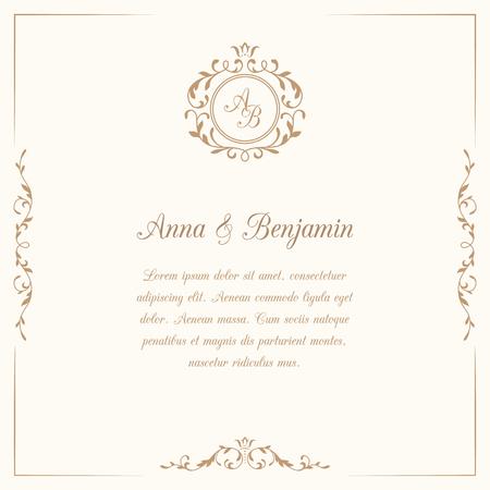 Carte d'invitation avec le monogramme. invitation de mariage, Save The Date. modèle d'invitation Vintage. illustration Banque d'images - 53666765