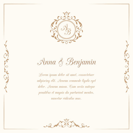 Invitation card with monogram. Wedding invitation, Save The Date. Vintage invitation template. illustration