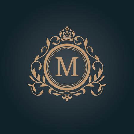 Elegant floral monogram design template for one or two letters . Wedding monogram. Calligraphic elegant ornament. Business sign, monogram identity for restaurant, boutique, hotel, heraldic, jewelry. Vettoriali