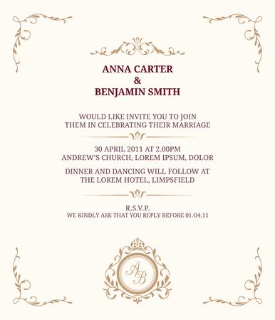 Einladungskarte mit Monogramm. Einladung zur Hochzeit, sparen das Datum. Vintage-Einladungsschablone. Illustration