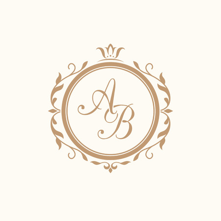 initials: Elegant floral monogram design template for one or two letters . Wedding monogram. Calligraphic elegant ornament. Business sign, monogram identity for restaurant, boutique, hotel, heraldic, jewelry. Illustration